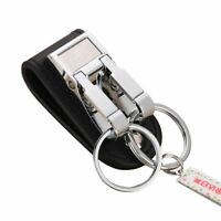 Genuine Leather Belt Buckle Clip 2 Loops Keychain Key Ring Holders
