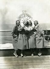 Ocean Liner Ile de France Actress Gale Sisters Old Photo 1931