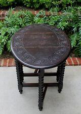 Antique English Dark Oak Drop Leaf CARVED Top Gate Leg BOBBIN TWIST Table