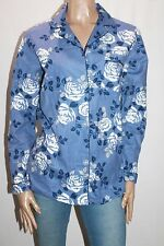 SOHO Brand Blue Floral Flannel Long Sleeve Lounge Shirt Top Size S BNWT #SD40