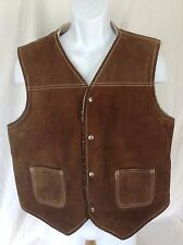 Vtg Mens Leather Shop SEARS Brown Suede Vest Faux Shearling Sherpa Lined~sz L