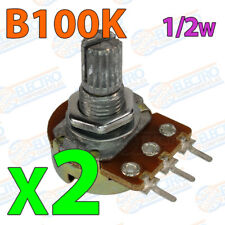 2x Potenciometro B100K 100K ohm lineal 0,5w 15mm Linear Potentiometer Shaft