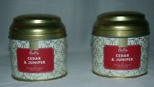 Set of 2 canister candles white with gold