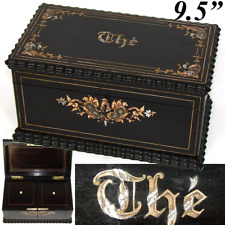 Antique French Charles X Era Double Well Tea Caddy, Boulle Style Inlay