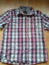 Tokyo Laundry Pink/Black/White Checked Short Sleeve Cotton Shirt Size Large