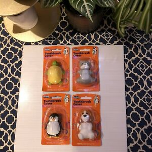 New DenTek Kids Hygiene Toothbrush Covers Penguin -Turtle -Cat- Dog Lot Of 4
