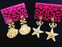 E688 BETSEY JOHNSON Crystal Gem Starfish Sea Shell Reef Beach Beach Earrings US