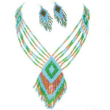 BLUE GREEN RED BEADED AFRICAN NECKLACE EARRINGS S/31/7