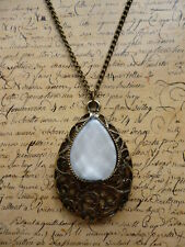 Vintage Bronze Pearl Filigree Teardrop Costume Jewellery Necklace + Gift Bag