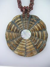 Circular Brown Slice Cone Shell Pendant 6mm bead necklace