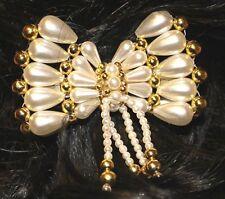 Haarschmuck Perlen-Applikation Schleife mit Spange zartcrem gold NEU