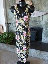 All That Jazz Tropical Floral Shirt Wrap Dress 7/8 V Neck Sleeveless Black