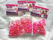 900 Loom Bands Rubber Refill Neon Red Pink & White w/ hooks & s-clasps Bundle