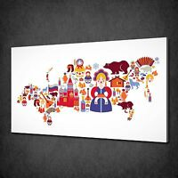 SYMBOLS MAP OF AFRICA MODERN CANVAS WALL ART PICTURE PRINT READY TO HANG