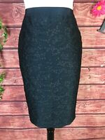 Ann Taylor Skirt size 4 Black Lace Straight Pencil Knee Wedding Cocktail Evening