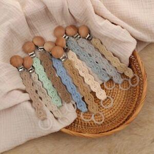Crochet Cotton Pacifier Dummy Clip Wooden Baby Newborn Chain