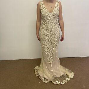 Enchanting by Mon Cheri Wedding Dress UK Size 14 Champagne (#H1/08)