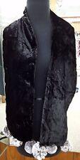 New Black Velvet Scarf with Genuine Real Chinchilla Fur Tassels