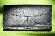 Real Leather Wallet Purse Purse Wallet Marc Chantal Black NEW