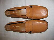"NWOB AEROSOLES ""Little Time"" Light Orange Leather Wedge Heel Loafers Size 8.5"