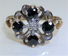 VINTAGE 9CT YELLOW GOLD SAPPHIRE CLUSTER STATEMENT RING