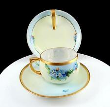 JP POUYAT LIMOGES FRANCE 3 PIECE FORGET ME NOT CUP, SAUCER & HANDLED SNACK PLATE