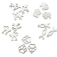 20pcs 304 Stainless Steel Metal Charms Smooth Cute Animal Pendants 10.7~14.5mm