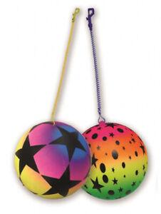 "10"" Rainbow Ball Star Pattern On Keyring Keychain Kids Pocket Money Outdoor Toy"