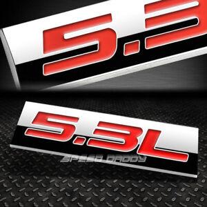 METAL EMBLEM CAR BUMPER TRUNK FENDER DECAL LOGO BADGE CHROME RED 5.3L 5.3 L