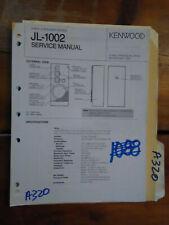 Kenwood jl-1002 service manual original repair book stereo house speaker
