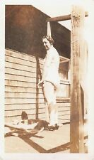 WOMAN in BLOOMERS SWIMSUIT ? CAUGHT in SEMI-NUDE VULNERABLE POSE Vtg 1930s Photo