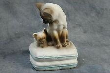 Mann Music Box Figurine Cat & Kitten on Pillows Working Japan