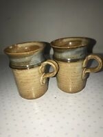2 Signed Artist Studio Handmade Clay Pottery Coffee Cup/Mug.