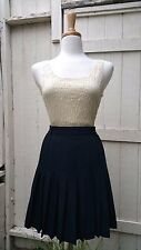 VTG Nautical 60s Pleated Tennis Skirt Navy Blue Vintage Retro Sport Resort 8 M