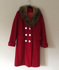 Vintage Red Peacoat Fur Collar Princess Coat Small S Sm Coat Jacket Trench