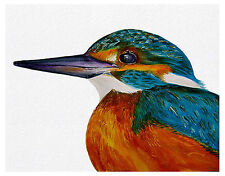 Kingfisher Bird Watercolour Painting A4 Signed Limited Edition Print Portrait