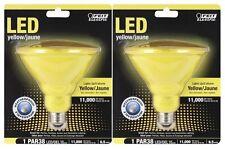 (2-Pack) LED YELLOW Feit WEATHERPROOF Indoor Outdoor PAR38 FLOOD Bug Light Bulbs