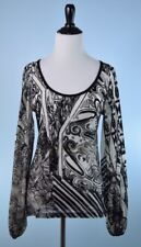 SAVE THE QUEEN $228 Ivory Black Long Gathered Sleeve Velvet Burnout Tunic Top L