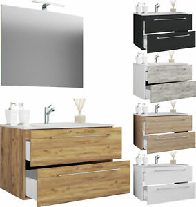 VCM 3-tlg. Waschplatz Badmöbel Badezimmer Set Waschtisch Waschbecken Schubladen