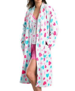Slenderella Heart Pattern Wrap Bathrobe Ladies Soft Fleece Dressing Gown Robe