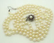 💐🏵️🌺 Doppelte Perlenkette mit dem Verschluss aus 585er Gold mit Rubin💐🏵️🌺