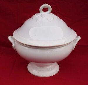 Antique Gien France Porcelain White Tureen Loop Handle Leaves Fruit 19th C