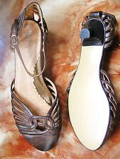 nº 39  preciosos zapatos sandalia piel tiras con tacon mujer talla nuevo REBAJAS
