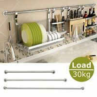Stainless Steel Hanging Rod Home Kitchen Wall Mounting Storage Stick Holder ~