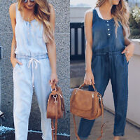 Women Casual Loose Vest Jeans Pants Overalls Sleeveless Jumpsuit Romper Trousers