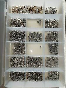 HUGE LOT OF SPACER BEADS ENDCAPS SILVER & GOLD TONE & CONTAINER