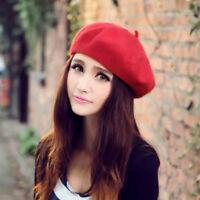 Femme fille béret chapeau laine d'hiver Automne doux béret coupe Casquette