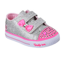 Skechers Twinkle Toes Glitzy Games Girls Infant Canvas Shoes SLPK Silver/pink 7 / 24