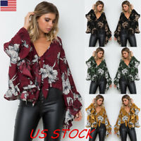 US Women Floral Bat-Wing Sleeve Kimono Lace Up Crop Top Casual Loose Blouse Tops