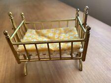Vintage Dollhouse Miniature Nursery Furniture Brass Cradle Swing Crib Bedding